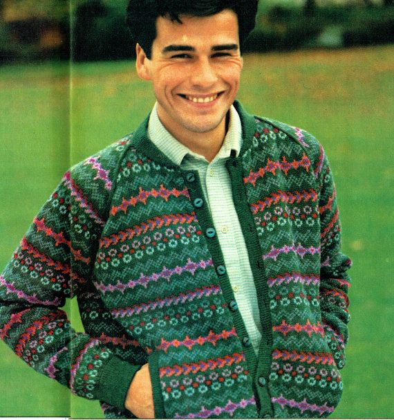 PDF 1980s Mens Novel Fair-Isle Cardigan Knitting Pattern, Golf ...