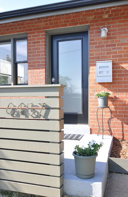 Modern porch railing and address numbers   House with ...