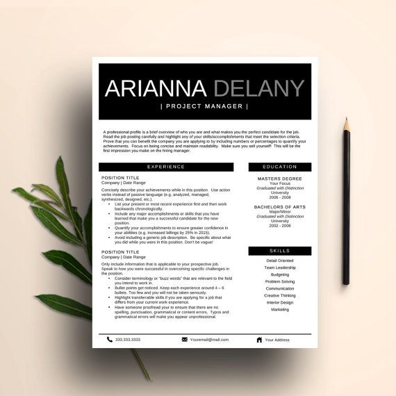 Modern Resume Template for Word Professional CV (1 \ 2 Page - resume te