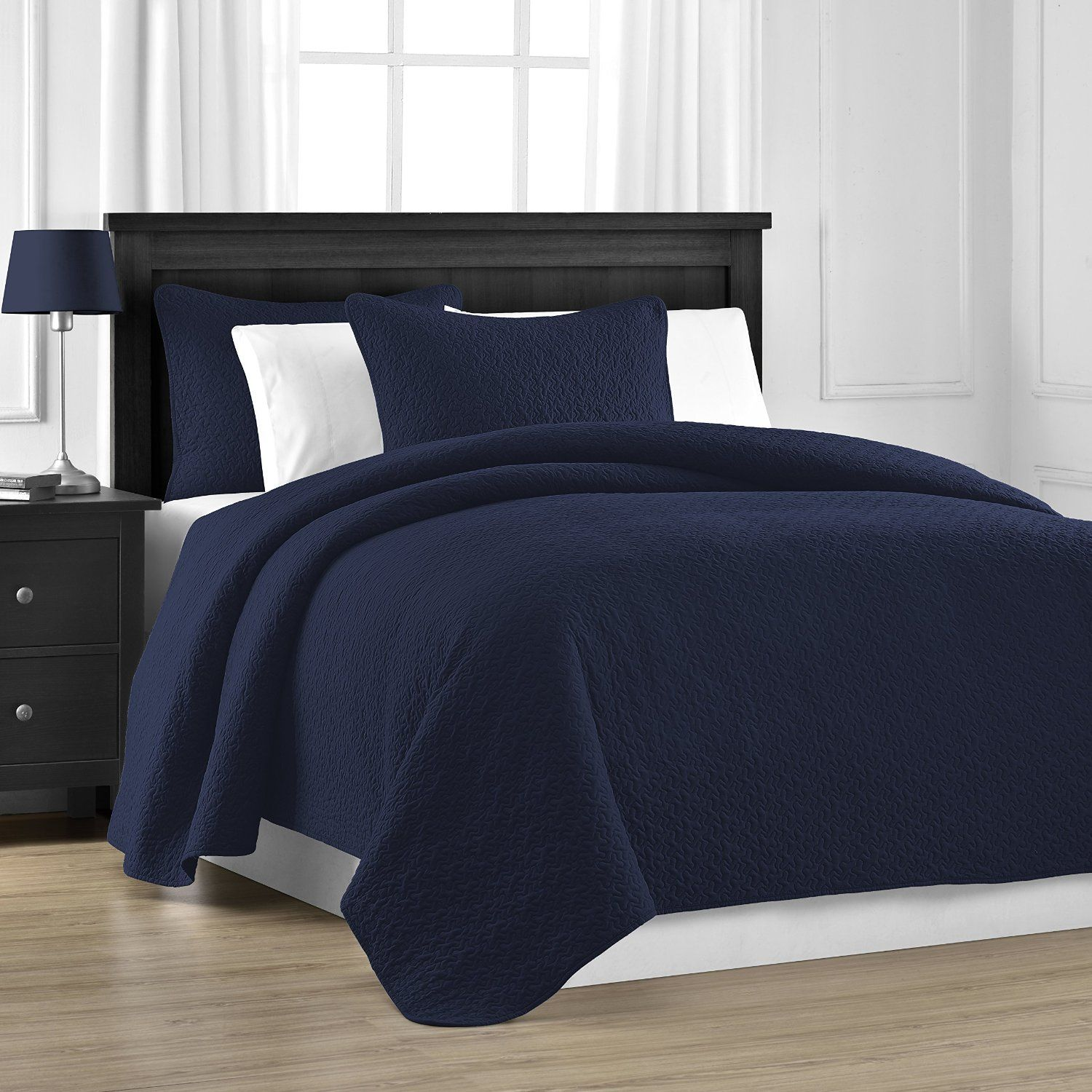 Bedding 3 Piece Cotton Filled Jigsaw Quilted Coverlet Set (Full/Queen, Navy