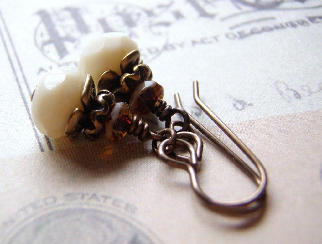 Vanilla Creme Earrings Caramel Accent Vintaj Brass Ear Wire 9 x 6 Glass Dangle Handmade