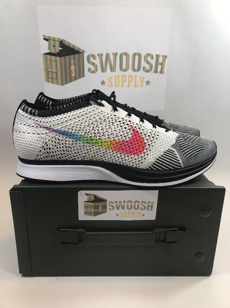 5ea4a09c03ff Nike Flyknit Racer BE TRUE Running Shoe MC Pride 902366 100 Sz 8.5 Women s  10