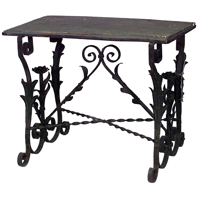 1stdibs Marble Wrought Iron Style Renaissance Italian End Table