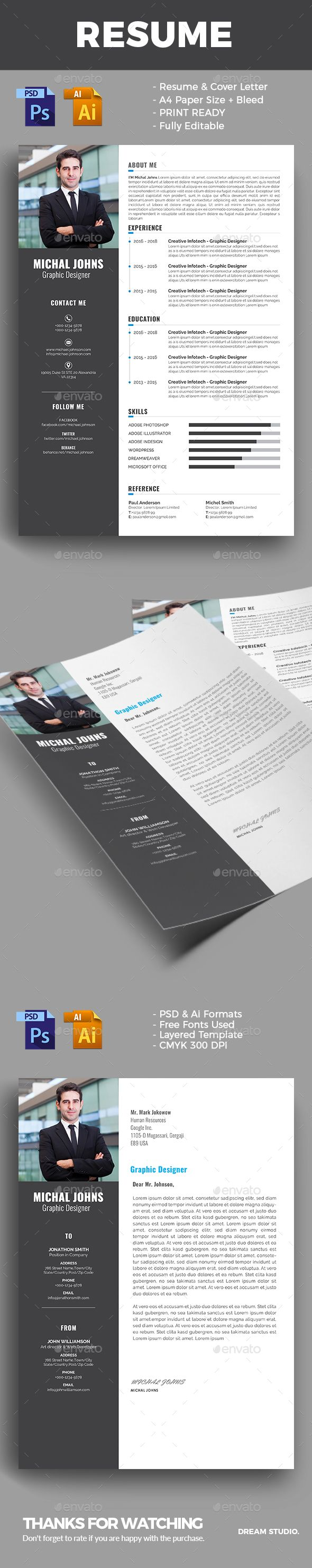 The CV by DreamStudio-eg INCLUDEDResume/CV Template Cover Letter ...