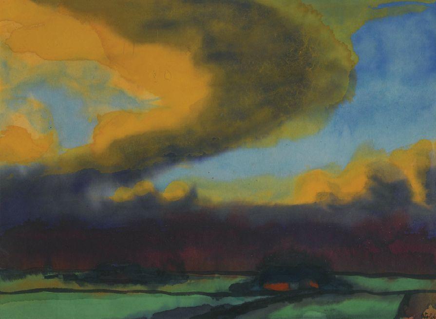 Landschaftsmalerei expressionismus nolde  N ] Emil Nolde - Marsh Landscape with Thunder Clouds (1930)   Die ...