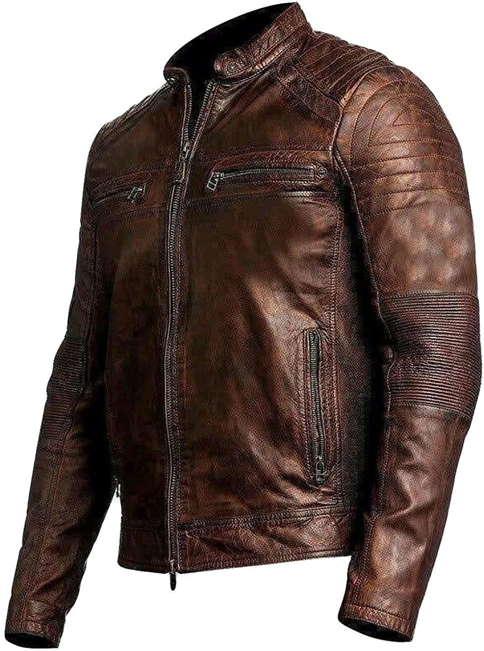Mens Cafe Racer Brown Genuine Distressed Leather Biker