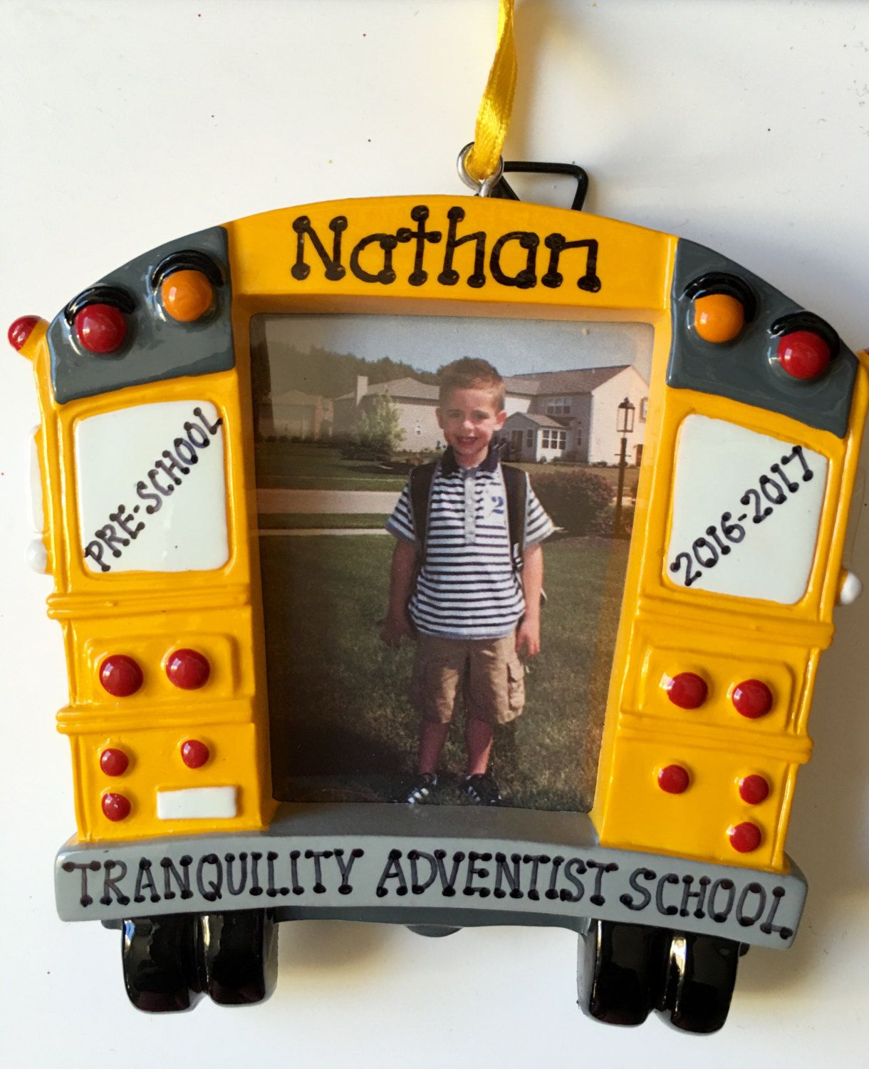 Personalized School Bus Picture Frame Christmas Ornament Pre K