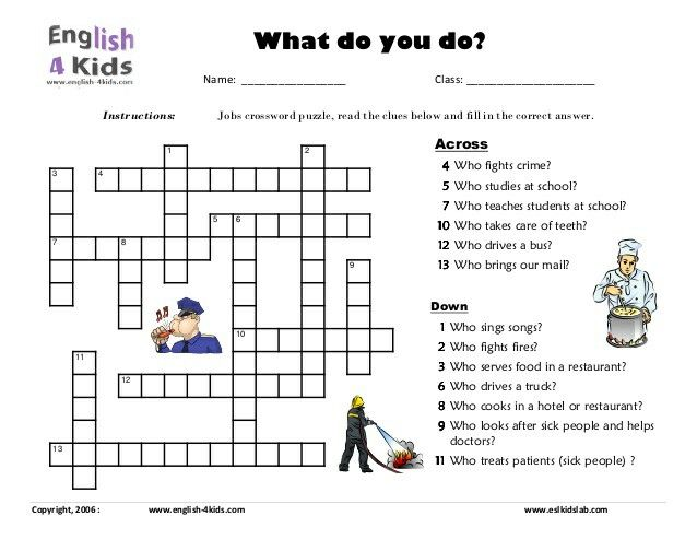 Jobs Crossword Puzzle English Pinterest Esl English English