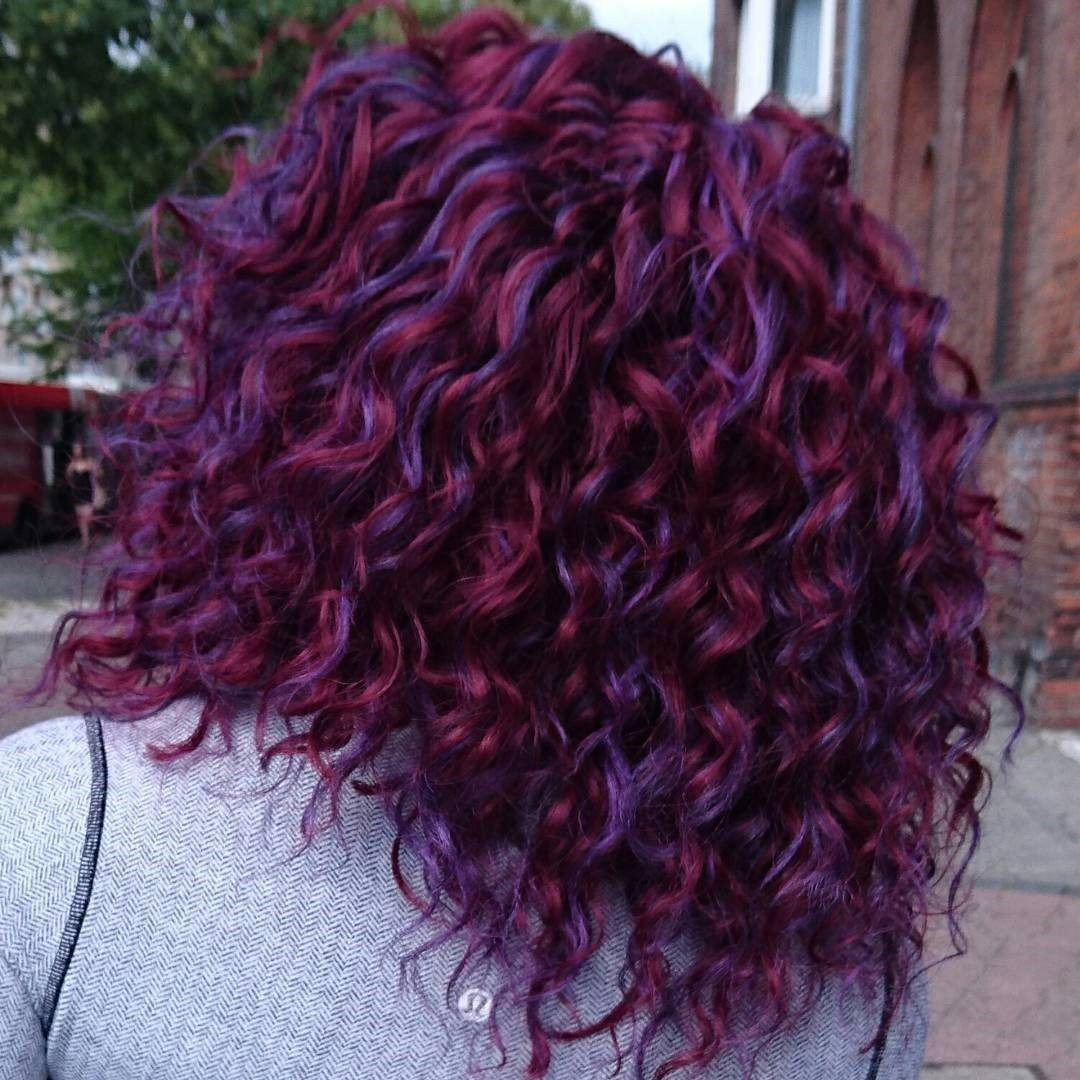 Purple Curly Hair Design Dyed Curly Hair Maroon Hair Burgundy Hair