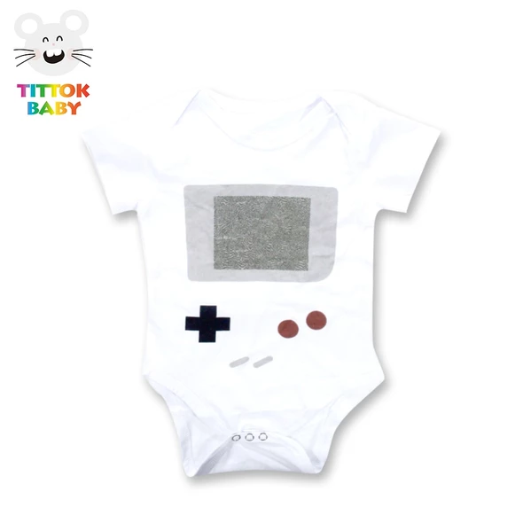 Game Handle Newborn Baby No Sleeve Bodysuit Romper Infant Summer Clothing White