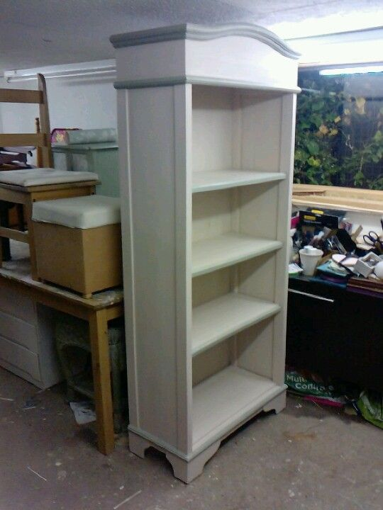 Solid Cream And Sage Green Bookcase