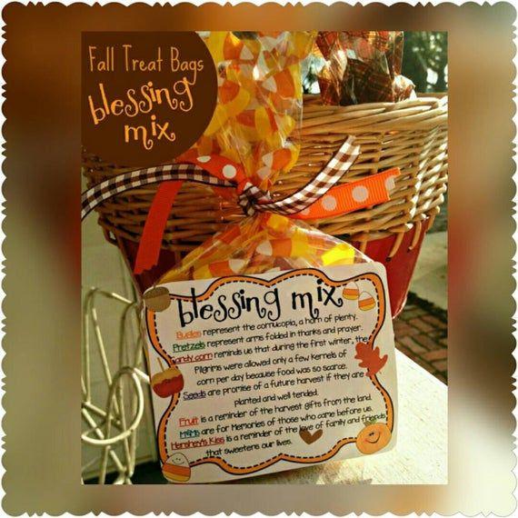 Blessing mix bag labels Thanksgiving treats, Thanksgiving printables, digital download, Thanksgiving favors