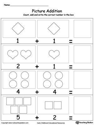 Adding Numbers With Shapes Math Addition Subtraction