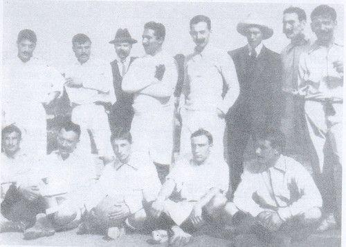 Sporting 1907-08 com Albano dos Santos, Henrique Costa,Etut, Emilio Carvalho,Viegas,Belo,Bentes,António Couto António Rodrigues,Queiróz dos Santos,Cândido Rodrigues e Friste Shirley