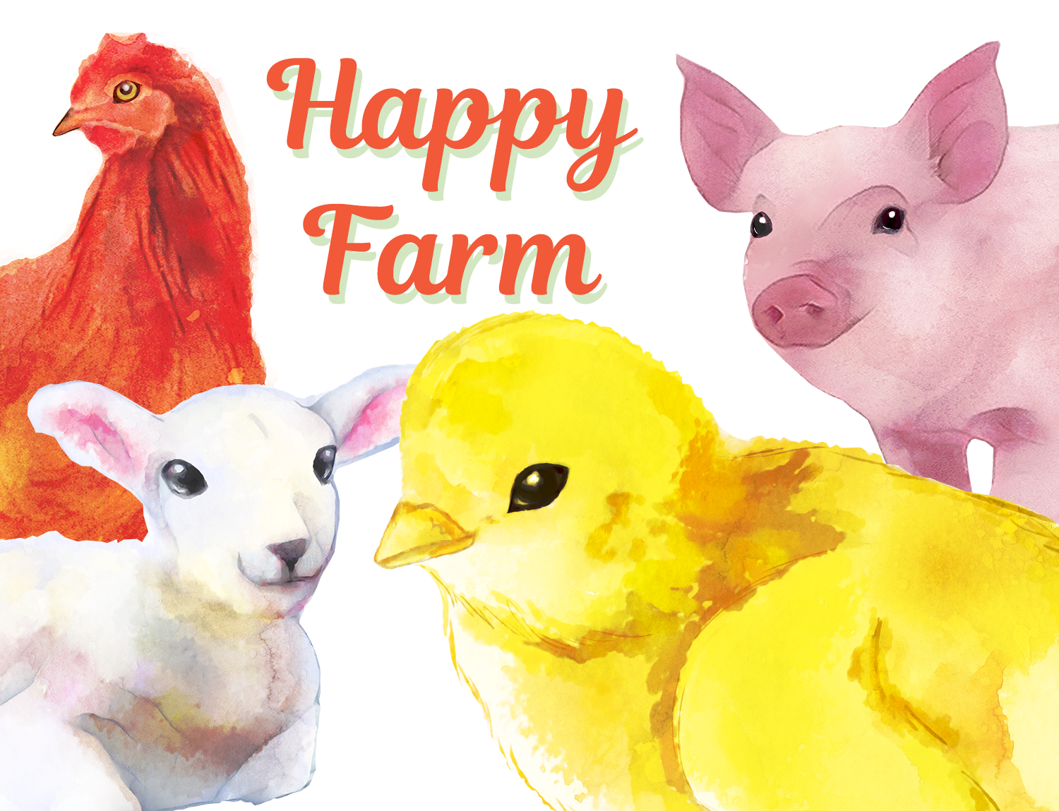 This Happy Farm set of 14 hand painted watercolor images with Farm ...