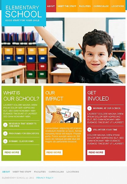 Elementary School Facebook Html Cms Templates By Mercury