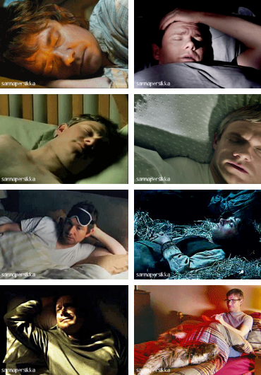 Martin in bed, in very different roles.