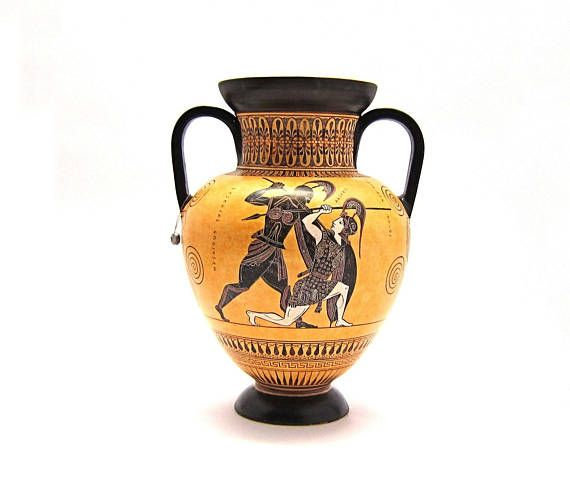 Greek Vase Black Figure Amphora Of Achilles And Penthesileia By