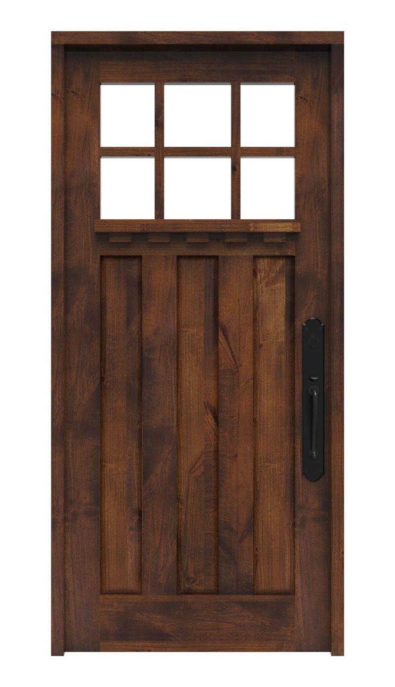 NEW U2022 Rocky Point Craftsman Solid Wood Craftsman Front Entry Door With Dentil  Shelf. →