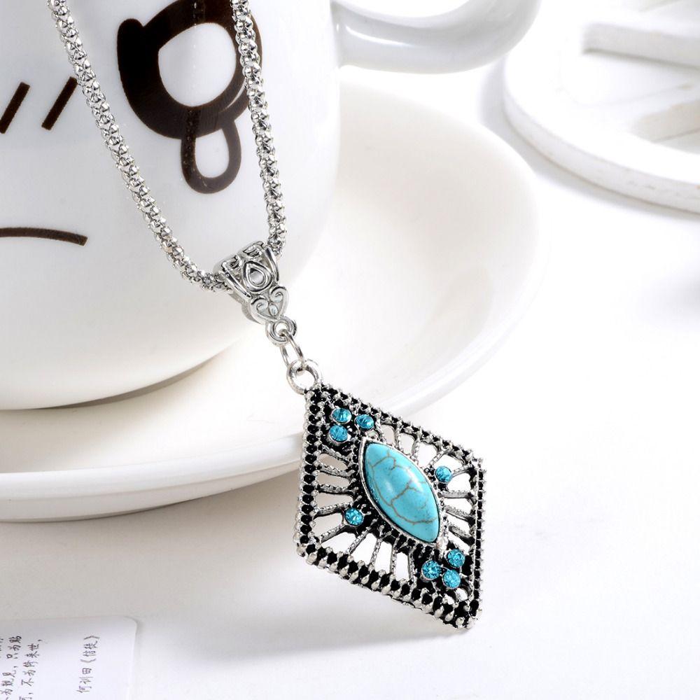 hot selling fashion tibetan silver blue stone pendant necklace