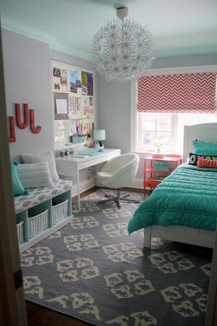 décoration de chambre moderne ado, couettes de lit bleues | teenage ...