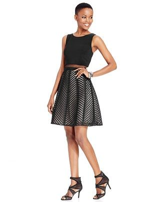 41fa48473f Betsy   Adam Perforated Popover Flare Dress