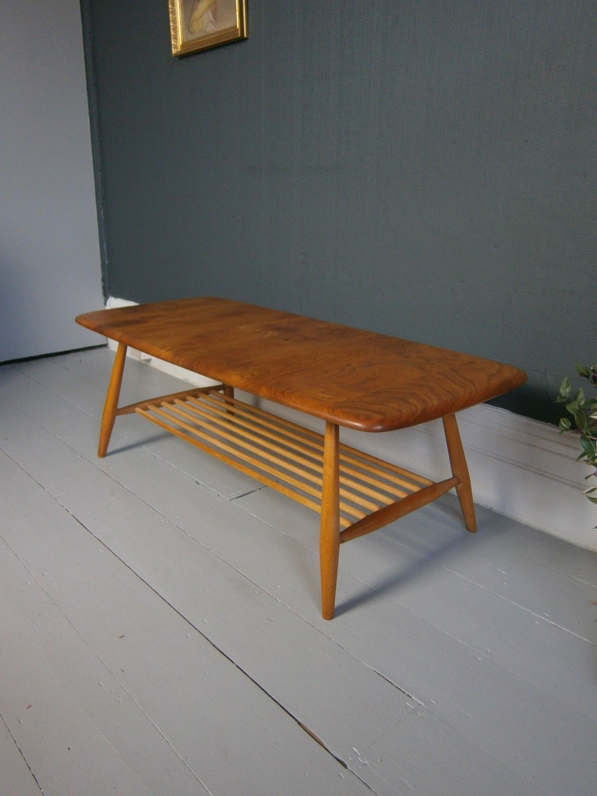 vintage retro mid century ERCOL coffee table blue label blonde