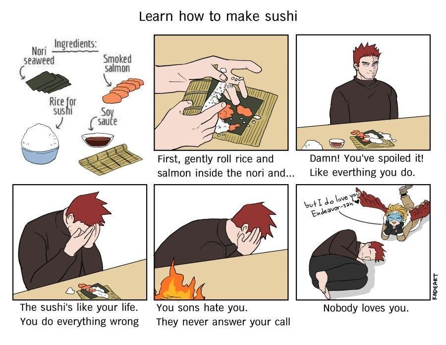 Learn How To Make Sushi With No 1 Hero Kadeart Hero Meme My Hero Hero