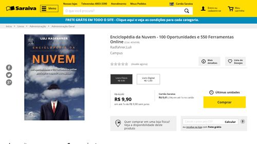 [Saraiva.com.br] Enciclopédia da Nuvem - 100 Oportunidades e 550 Ferramentas Online - 9788535248227 - de R$ 23,82 por R$ 9,90 (58% de…
