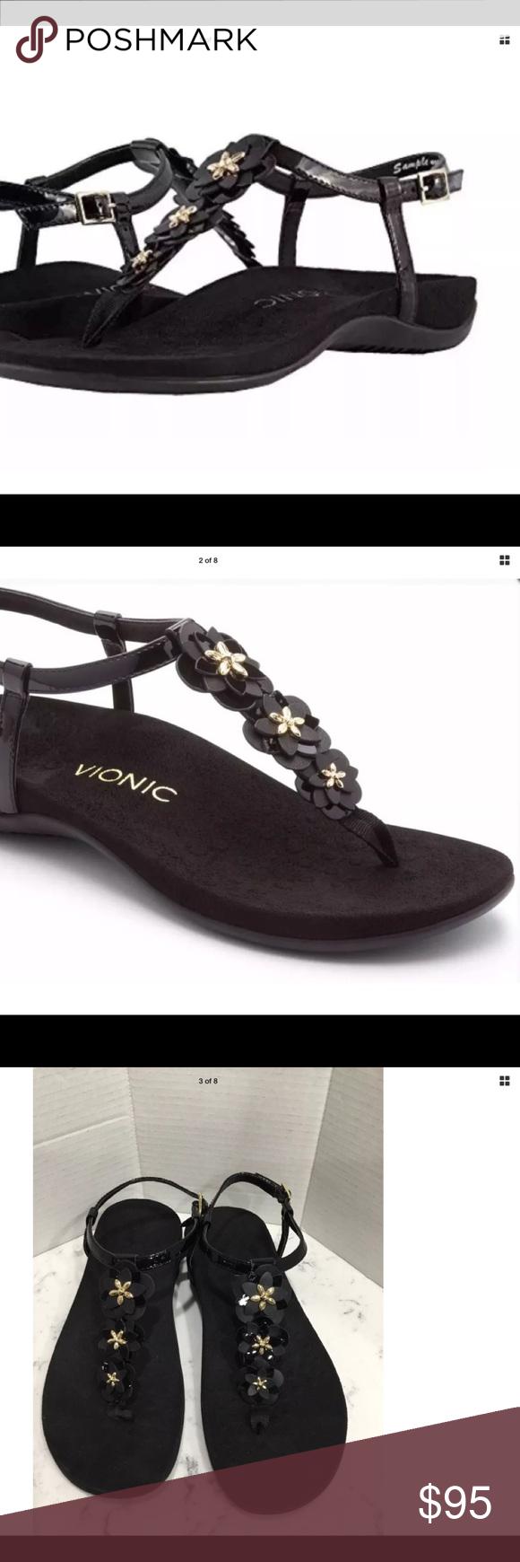 e02fbf0477ce Vionic Women s Paulie T-Strap Sandal Black Patent Vionic Women s Paulie T-Strap  Sandal Black Patent Size 8.5 M New without Box Durable rubber outsole with  ...