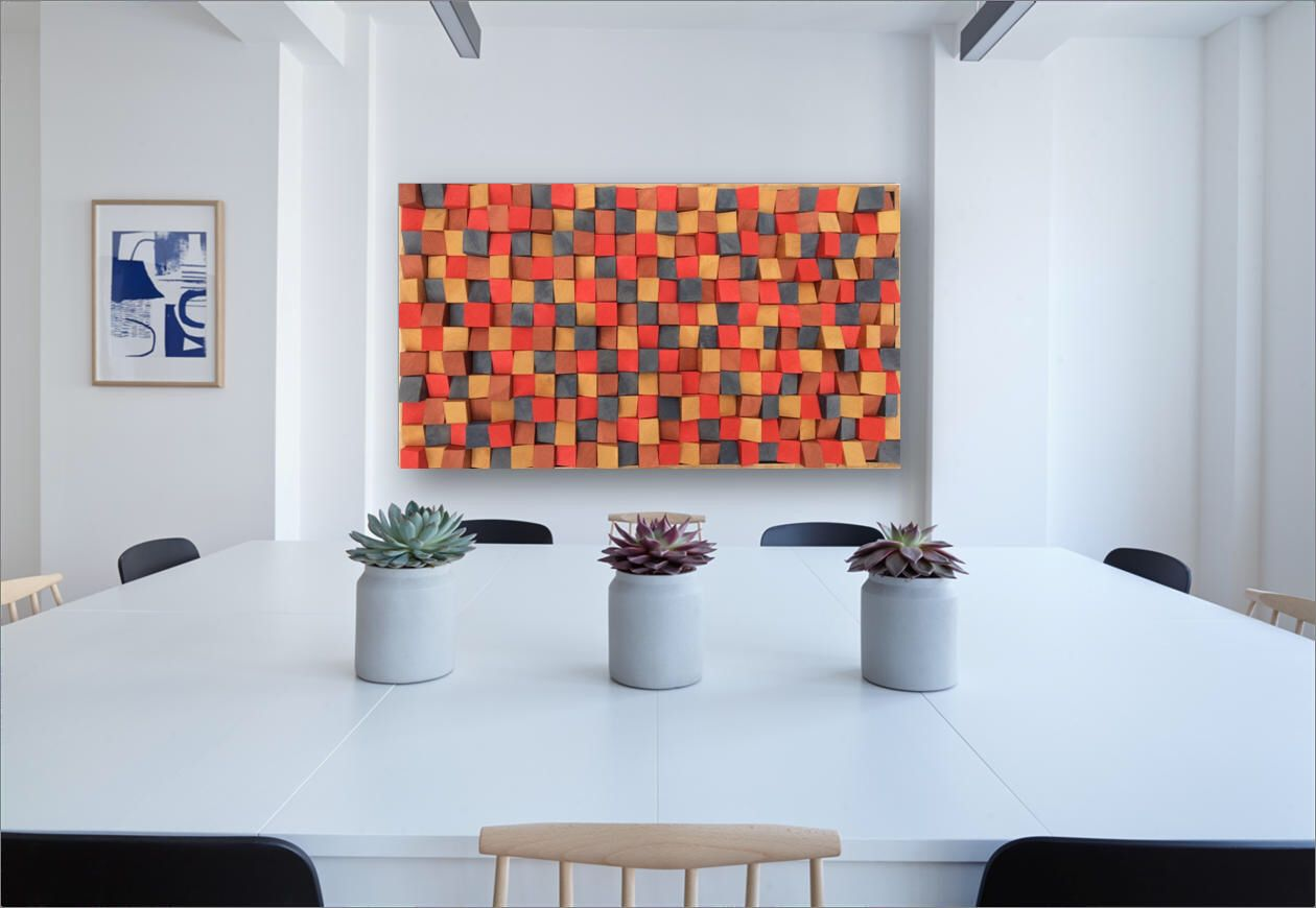 Wooden wall art d effect painted by artist riccardo ransarno in