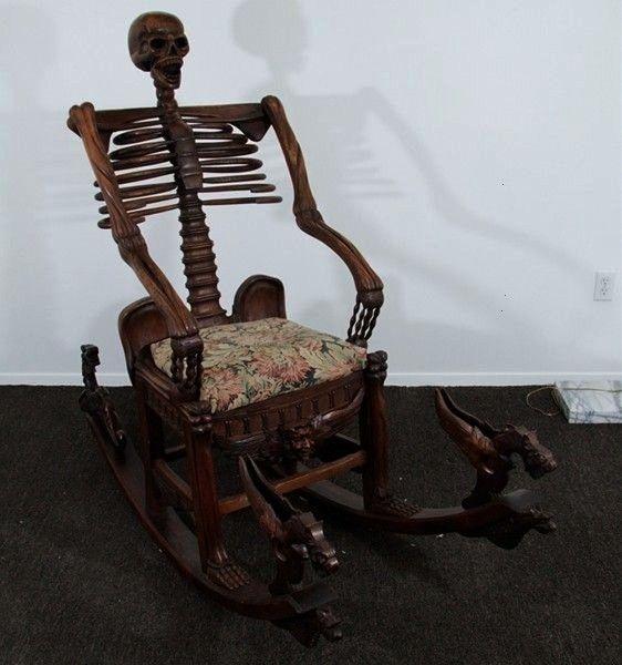 Mori Mid 19th Skeleton Rocking Chair Memento Mori Mid 19th Skeleton Rocking Chair  1stdibs Walnut Italian Style Savonarola Style Renaissance Armchair A Russian Style Maca...
