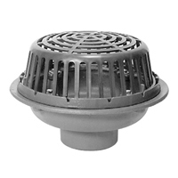 The Zurn Z1715 roof drain has a stainless steel body with galvanized cast iron cbody
