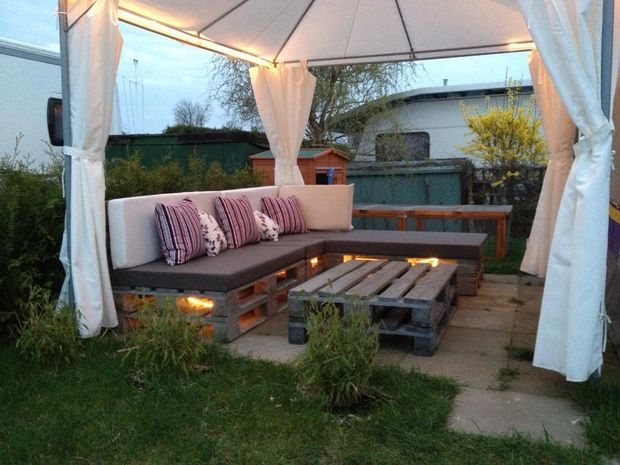 The Lights Underneath Outdoor Pallet Furniture Ideas Creative Backyard Patio White Tent Colorful Cushion Pillows