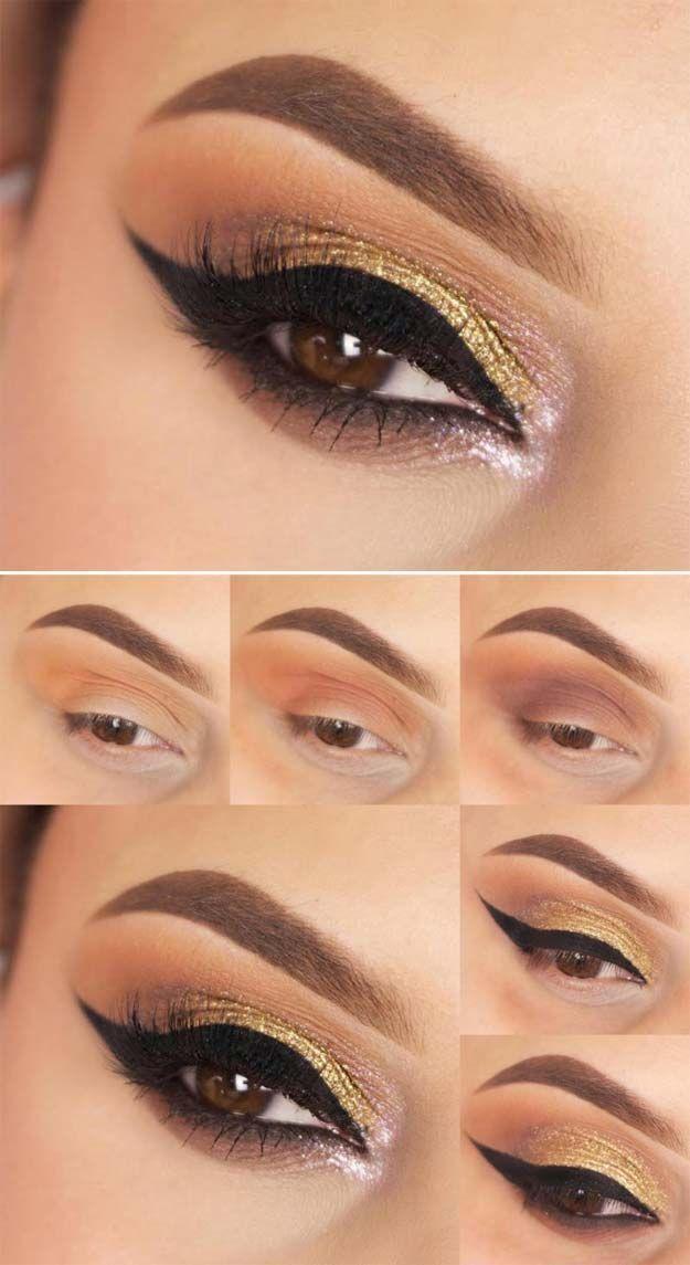 Hochzeits-Make-up für braune Augen - Goldglitter und Eyeliner für ... - Brautjungfern -