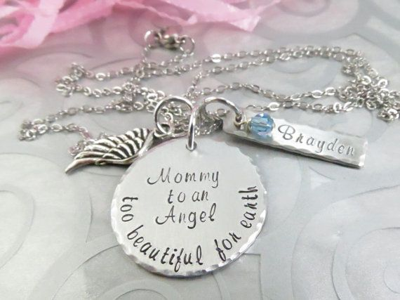 Miscarriage Necklace Hand Stamped Baby Loss by AvigayilJewelry