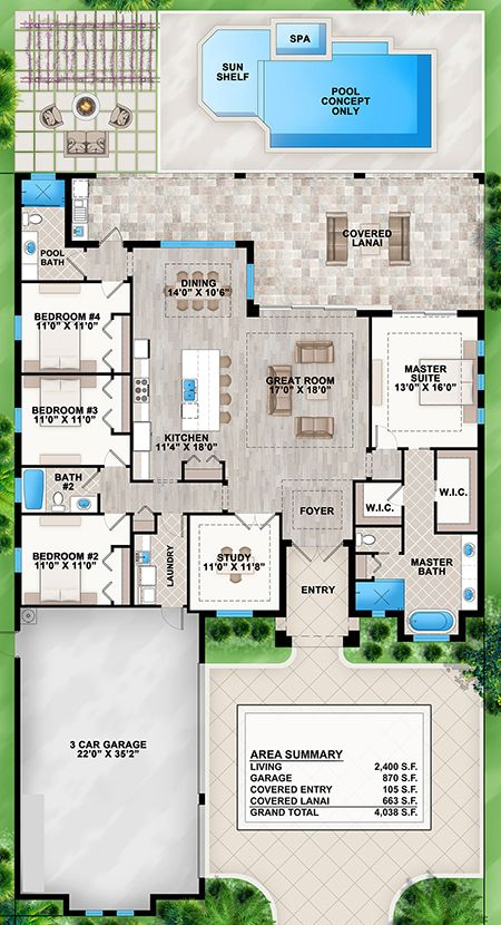House Plan 207 Florida Plan 2 400 Square Feet 4 Bedrooms 3 Bathrooms