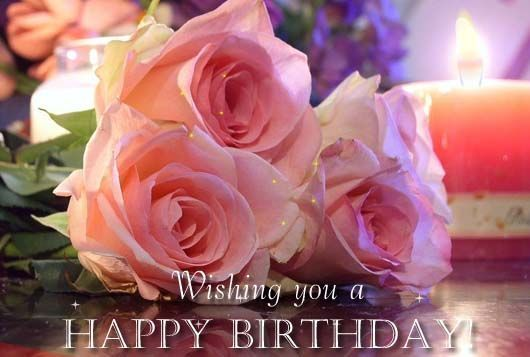 Happy Birthday Pink Roses With Images Flower Candle Candles