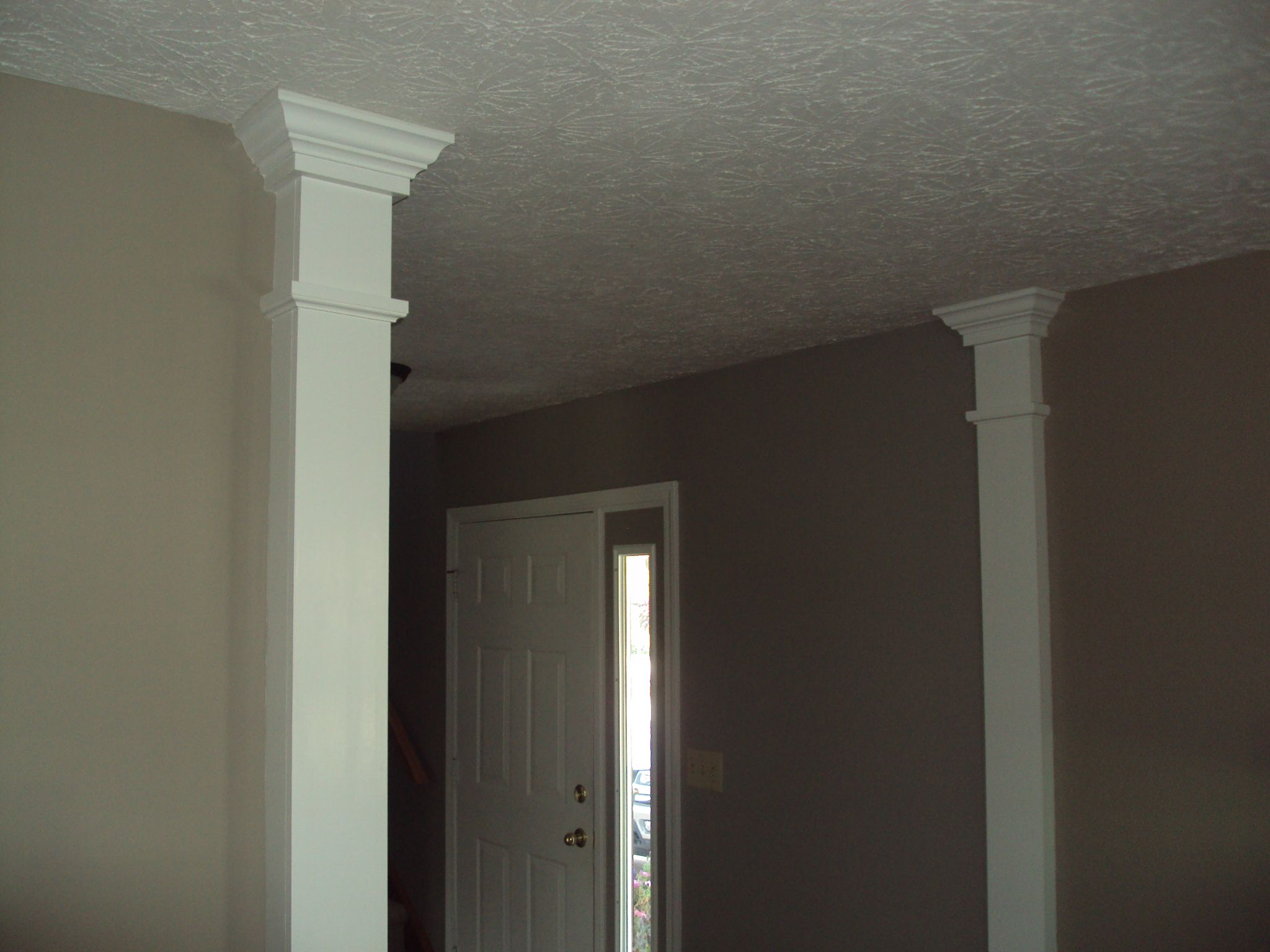Columns built to break up a common wall and allow to paint for Crown columns
