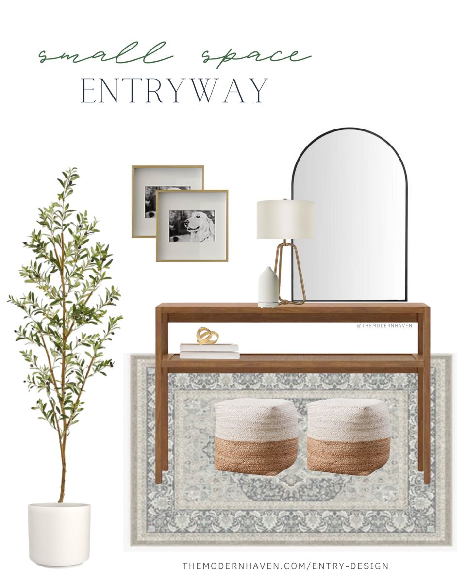 Small space entryway— perfect for narrow or smaller homes! #entrywaydecor #archmirror #olivetree