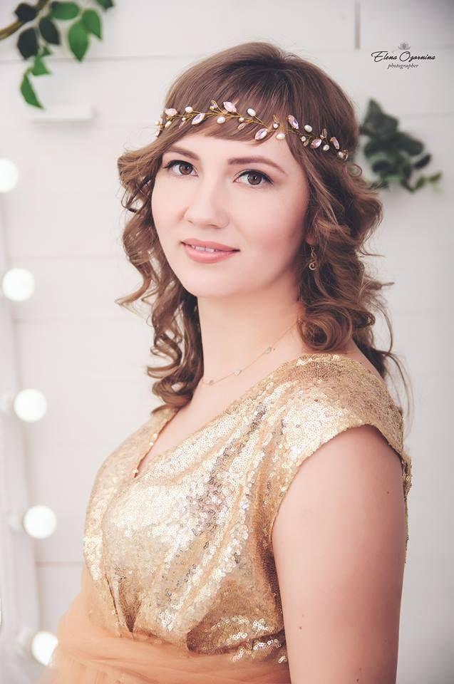 Blush pink Bridal Headpiece Rose gold wedding Hair vine Blush Rose ...