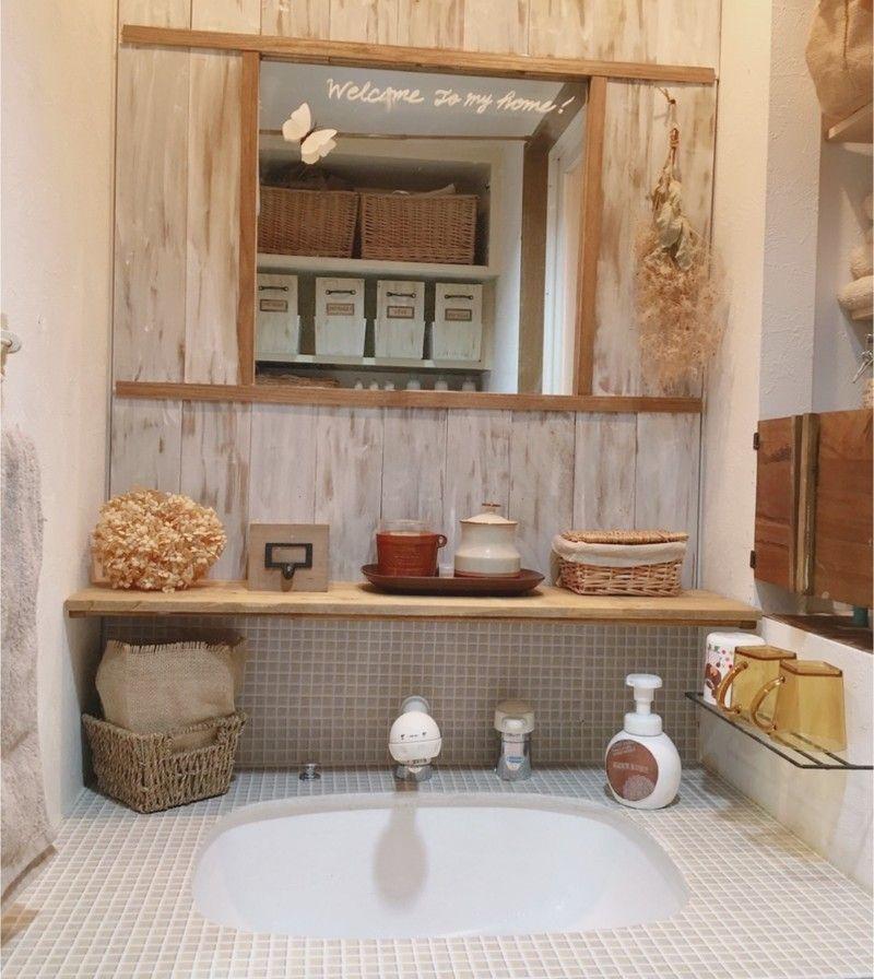 ずっとリメイクしたかった洗面所の水回りにhatteme のモザイクタイル柄