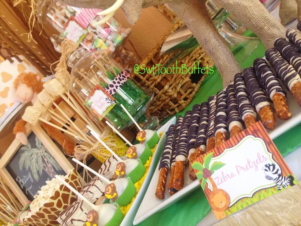 Safari Babyshower Candy And Desserts Table Cake Pops Fondant Cake Sugar Cookies Candy Buffet B Yellow Candy Buffet Baby Shower Food For Girl Candy Buffet