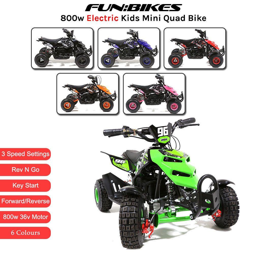 Funbikes 800w 36v Electric Kids Mini Quad Bike Atv Ride On Junior