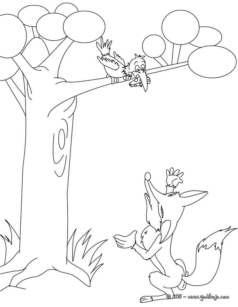 Dibujo Para Colorear Fabula EL ZORRO Y CUERVO The RavenRiseColoring PagesCrowWorksheetsFairy TalesAlphabetFairiesPrintable Children