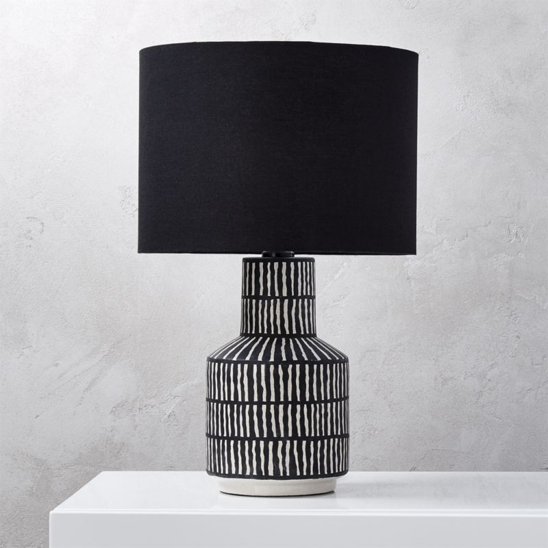 Shop Hatch Black And White Table Lamp White Hatch Marks On Black Painted Ceramic Base Gives This Table La Black Table Lamps Modern Table Lamp White Table Lamp