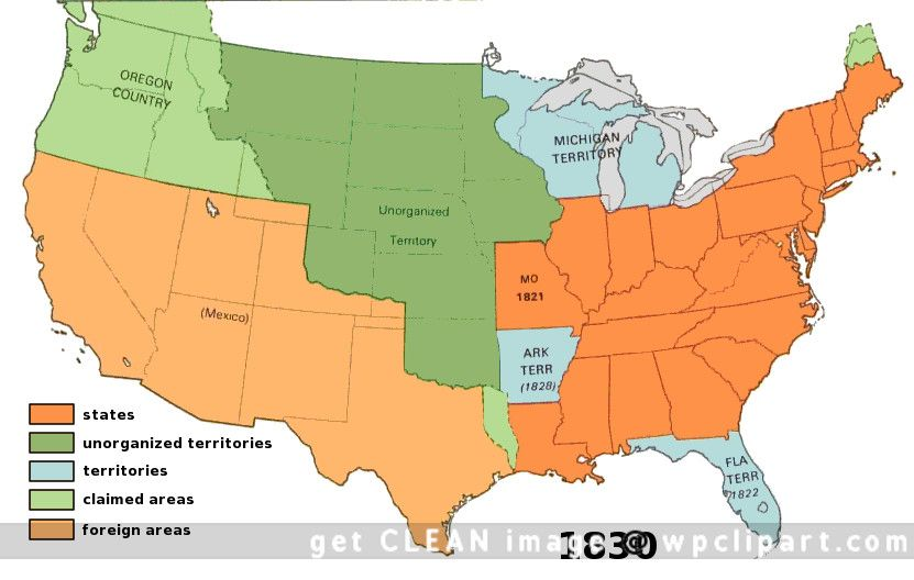 Map Of Us In 1830 us territory 1830   American history, History, United states history