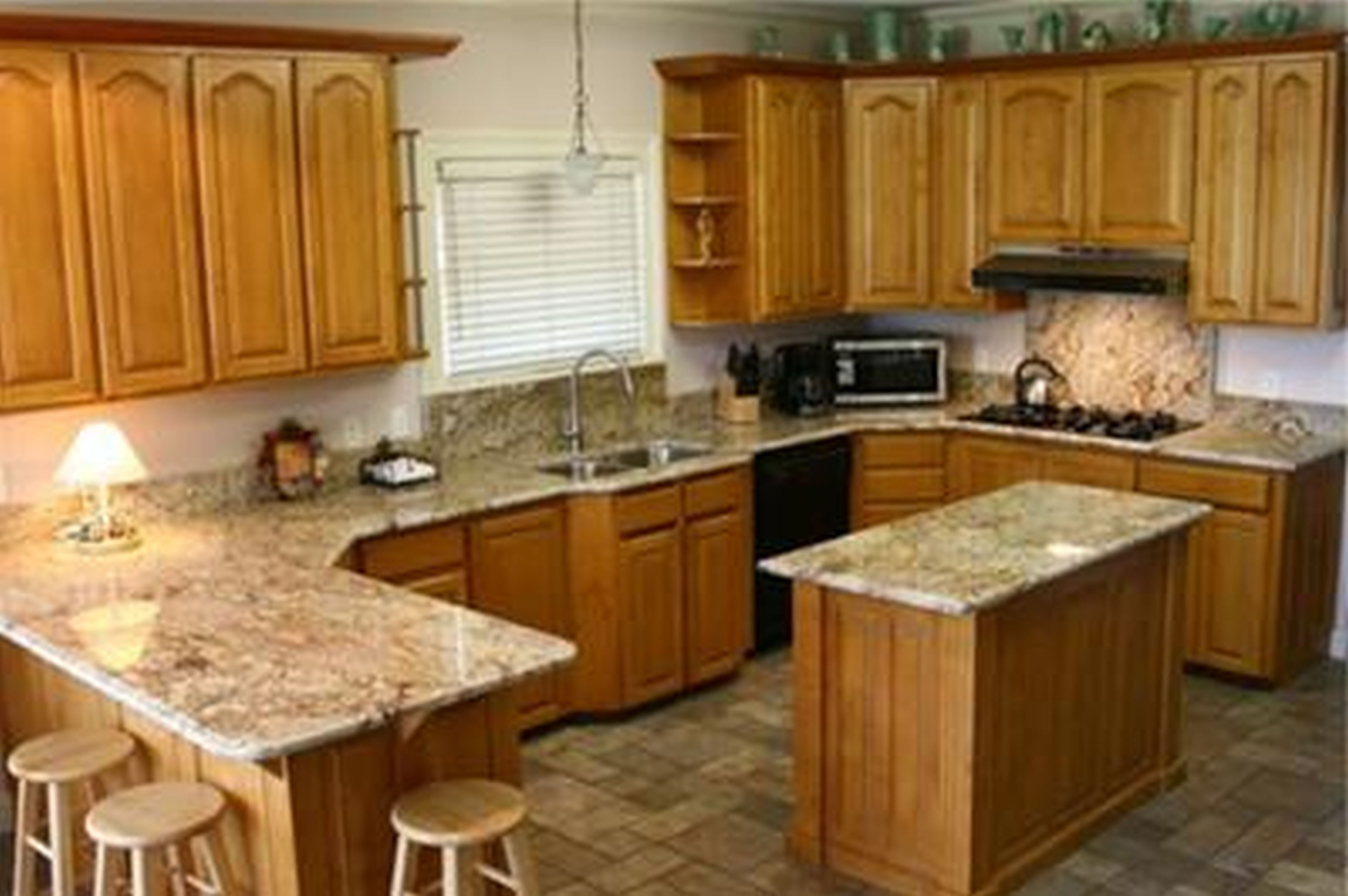 golden oak cabinets with quartz - Google Search | Home Decor ...