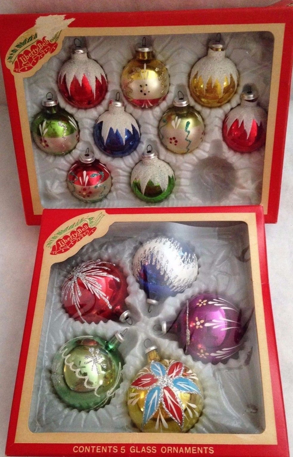 14 vintage hand painted mica glitter glass christmas ornaments 2 box new io box ebay
