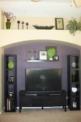Decorations Above New Tv In Nook Shelves And Tv Stand From Ikea